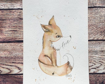 Watercolor Fox poster, watercolor Fox orange, handpaint watercolor Fox, nursery wall art