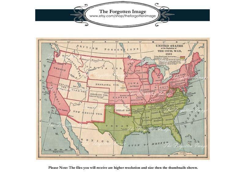 Vintage Digital Historical Map United States Civil War 1861
