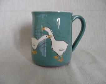 Handmade pottery goose mug.  Goose mug in sage green. Two sizes