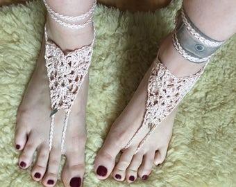 Barefoot sandals, boho, foot jewelry, chain, crochet sandals, crocheted body jewelry