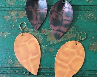 vegan (faux) leather reverse teardrop earrings