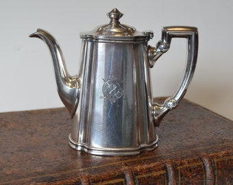 """Vintage Hotel Silver Tea or Coffee Pot marked """"Glen View Club"""". Chicago Suburbs, Illinois. Historic Club. Collectible."""