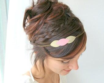 Leaf wedding headband, leaves bridal headpiece, leaf bridal hair jewelry, rose-gold leaves, bridal tiara, pink gold crown-wedding leaf tiara