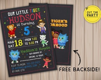 Daniel Tiger invitation, Daniel Tiger birthday invitation, Daniel Tiger party invitation, Daniel Tiger chalkboard invitation