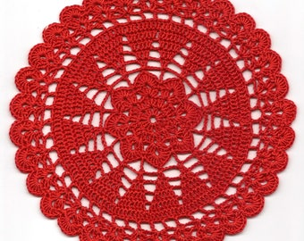 Vintage Handmade Crochet Doily Lace Lacy Doilies Wedding Decoration Home Decor Flower Mandala Dream Catcher Crocheted Round Red Modern Style