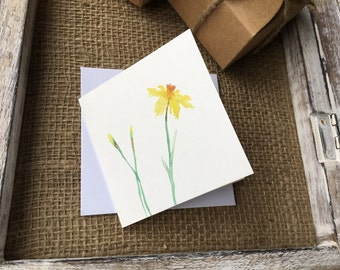 daffodil card - watercolour card - greetings card - dainty card
