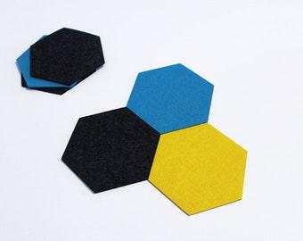 Felt coaster, hexagon, hexa, 19 colors - Hexa