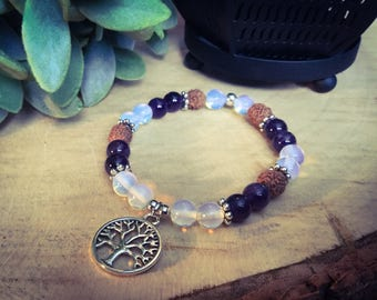 Bracelet tree of life in amethyst and Moonstone