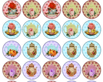 30 Beautiful Vintage Teapots Cups & Saucer Edible Wafer Cupcake Toppers 1.5inch Circular PRE CUT Ready To Use