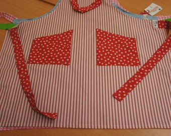 Kitchen apron red white linen and cotton floral
