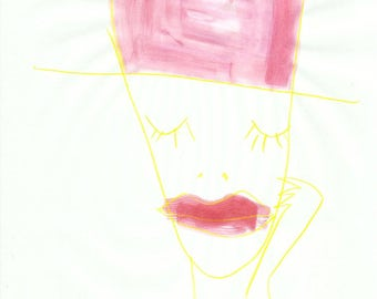 Dreaminess man with hat expressive painting watercolor colorful sleep red yellow mad hatter art brut outsider art pencil