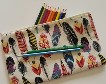 Feather Design Pencil Case, Large Pencil Case, Zipper Pouch, Pencil Holder, Stationery Bag, Make Up Bag