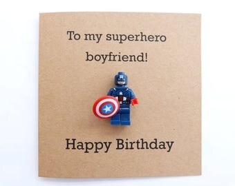 Captain America minifigure birthday card. Marvel mini figure. Superhero minifigure. Geek birthday. Boyfriend birthday card. Avengers card