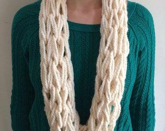 Arm Knit Infinity Scarf // Cozy Lightweight Cowl