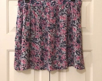 Floral Purple and Pink Skirt 90s Juniors Size XL
