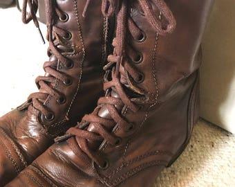 Brown Vintage Combat Boots Women's Size 10-11