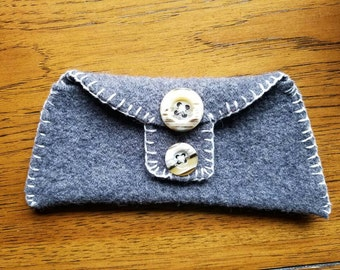 Upcycled wool bag with vintage buttons, hand stitched