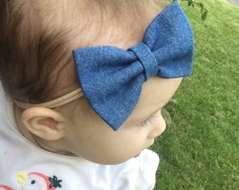 Denim hair bow, hair clip, denim