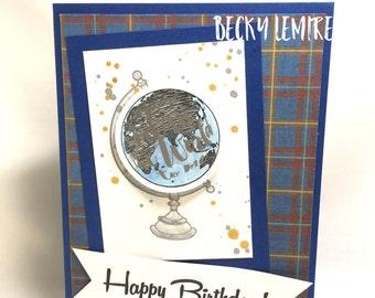 Blue World Globe Birthday Greeting Card
