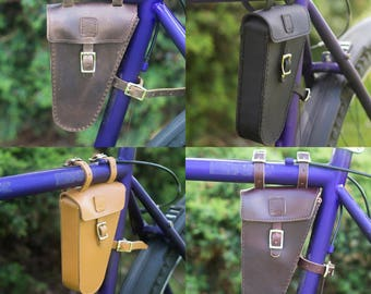 Leather Frame Bag For Bicycle Bike Triangular Bag MULTICOLOURED