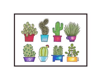 Eight Potted Cacti Digital Print