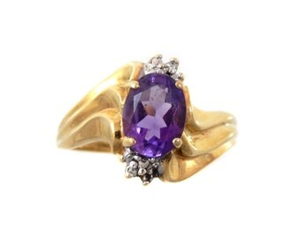 10K Amethyst & Diamond Wave Ring - X3273