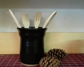 Black pottery utensil holder,  pottery utensil holder,  black pottery,  ceramic utensil holder,  utensil holder, pottery vase