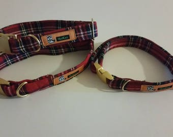 Tartan dog collar with golden buckles for small and medium dogs