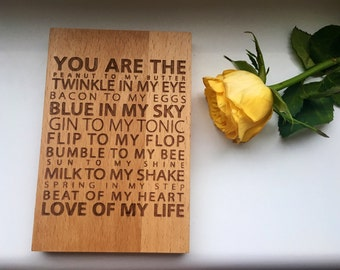 You Are The Flip to my Flop; Love of my Life Wooden Sign
