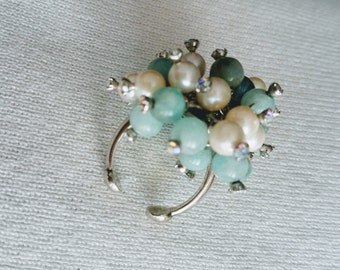 "Amazonite sterling cluster ring, pearls, crystals, fits 6.5-8"".  DL#163"