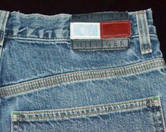 90s Mens Tommy Hilfiger Carpenter Jeans - Size 32 - Leather Tommy hilfiger Flag Patch