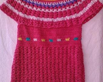 Handmade crochet multicolour kids dress