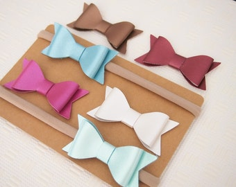 Metallic faux leather bow THIN stretchy nylon headband - baby girl - toddler - women's - baby accessories