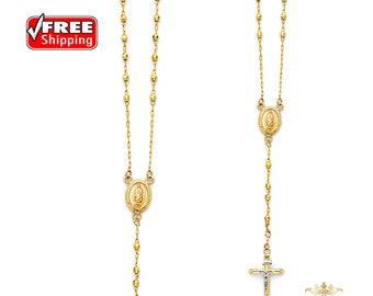 14K Yellow gold 3mm Ball Rosary Necklace - 26""