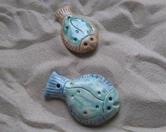 ceramic fish, home decor fish, ceramic flounder, small wall fish