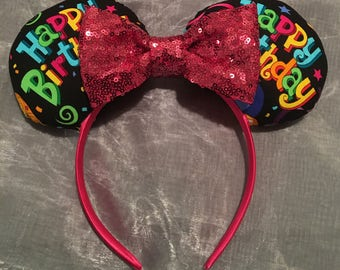 Happy Birthday Mickey or Minnie Ears! Handmade Sewn & Stuffed- Fits Child to Adult