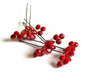 Red Bridal hair pins Red hair pins Wedding bobby pins Crystal hair pins Bridal bobby pins Wedding hair clip Red pearl headpiece