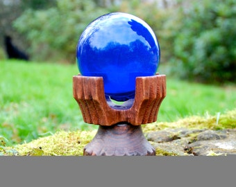 Witches Ball in Blue Glass with Stand