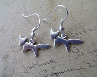 Small Fox earrings ~ silver ~