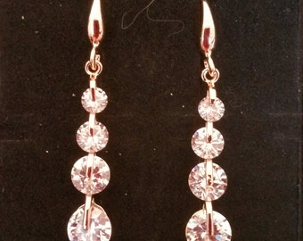 Silver or Gold plated cubic zirconia dangle earrings