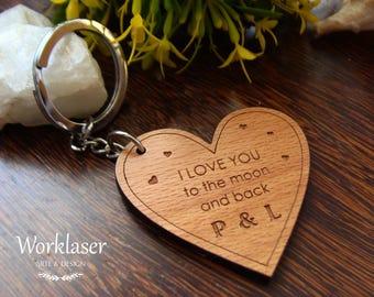 Heart Keychain, Custom Engraved Keychain, Wooden Keychain, Engraved wood keychain, Couple Keychain, Initial Keychain, Keychain