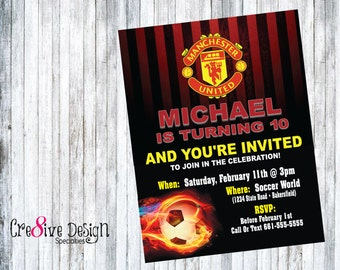 Soccer Manchester United Birthday Custom Printable Invitation, Red & Yellow, English Premier League, Rooney, Futball, Football, Manchester