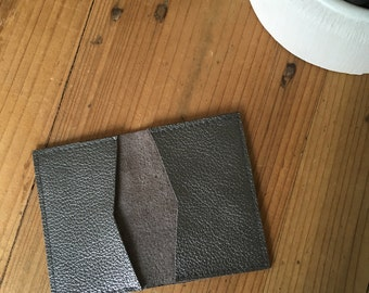 Metallic leather card holder