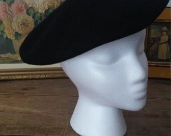 Béret français,béret noir, béret vintage, béret adulte, béret laine, chapeau femme, chapeau mode, chapeau vintage