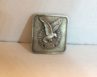 Vintage Fraternal Order Of Eagles Brass Buckle