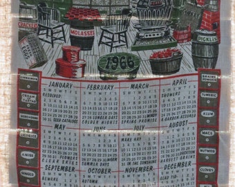 1966 Linen Towel Calender, Country Store design