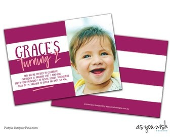 Stripes - Birthday Printed Invitation