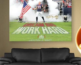 JJ Watt Flag Poster Limited Edition 24x36 Poster   JJ Watt Flag Canvas