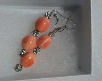 Coral glass beads drop earrings.
