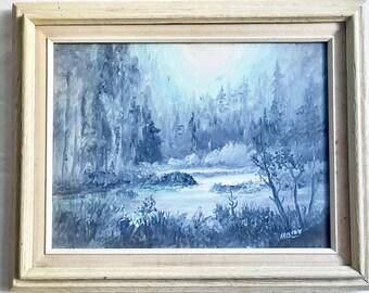 Framed Blue Landscape Oil Painting